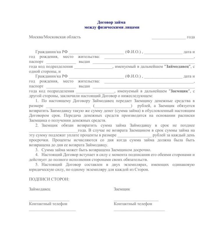 Соглашение о займе между физическими лицами образец
