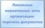 Локальные нормативные акты организации: перечень основных документов
